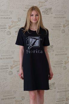 Платье-футболка из 100% хлопка черная FIORITA
