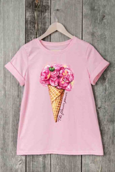 Розовая футболка с мороженым Милана