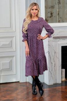 Легкое платье ягодного цвета Look Russian